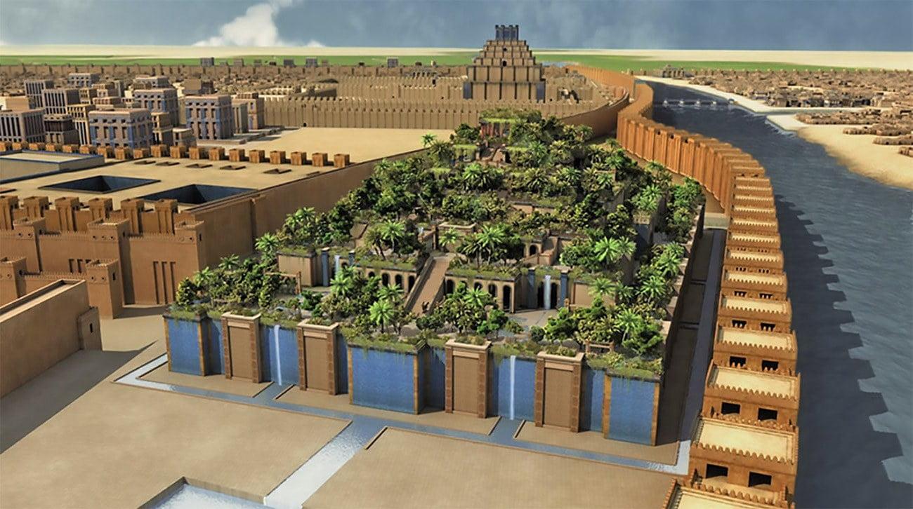 desenho dos jardins suspensos da Babilônia