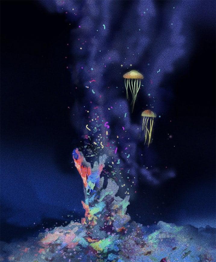 imagem de fonte hidrotermal onde acontecerão os Impactos da mineração submarina