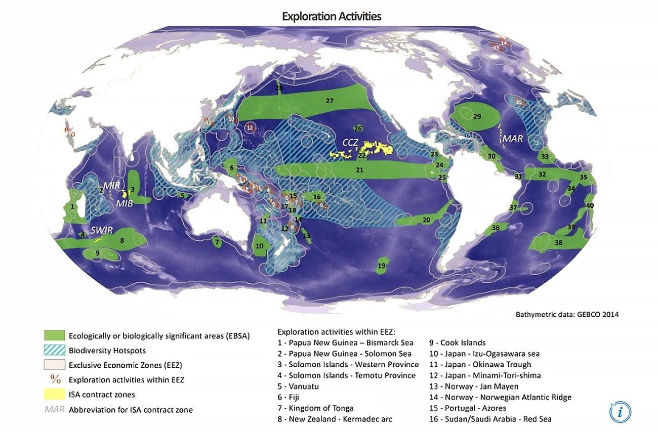 mapa mostra locais de mineração submarina