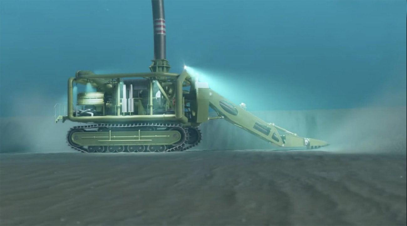 ilustração de máquina operando no fundo do mar