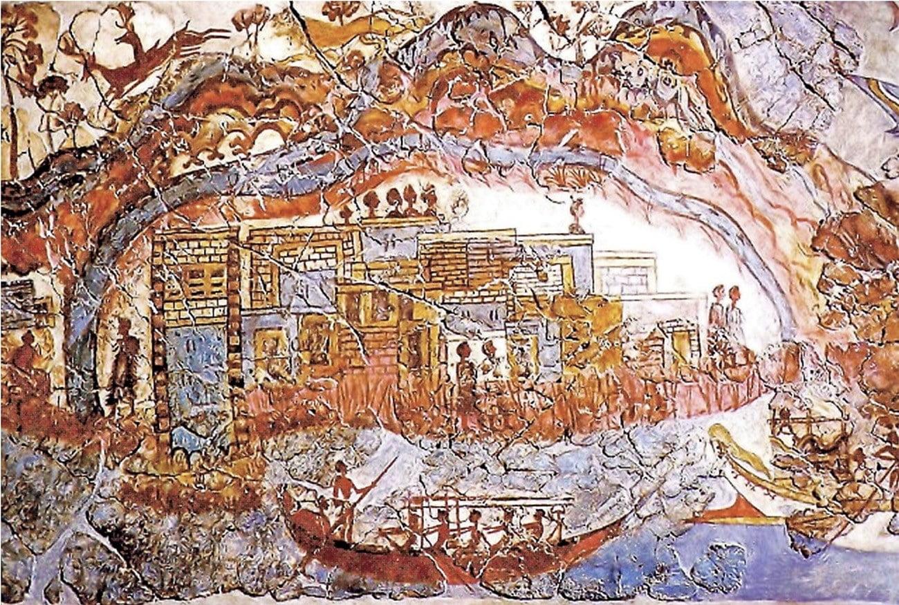 afresco mostra navio da idade do Bronze