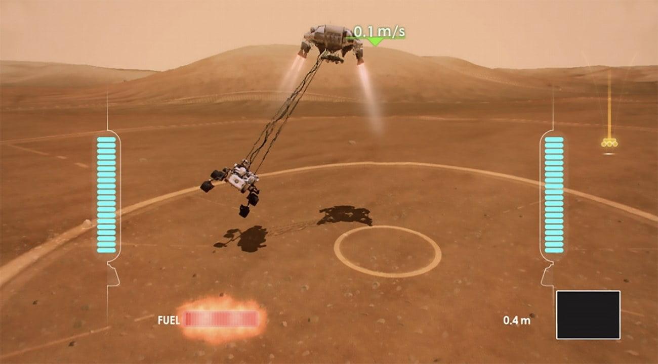 infográfico do pouso da Curiosity em Marte