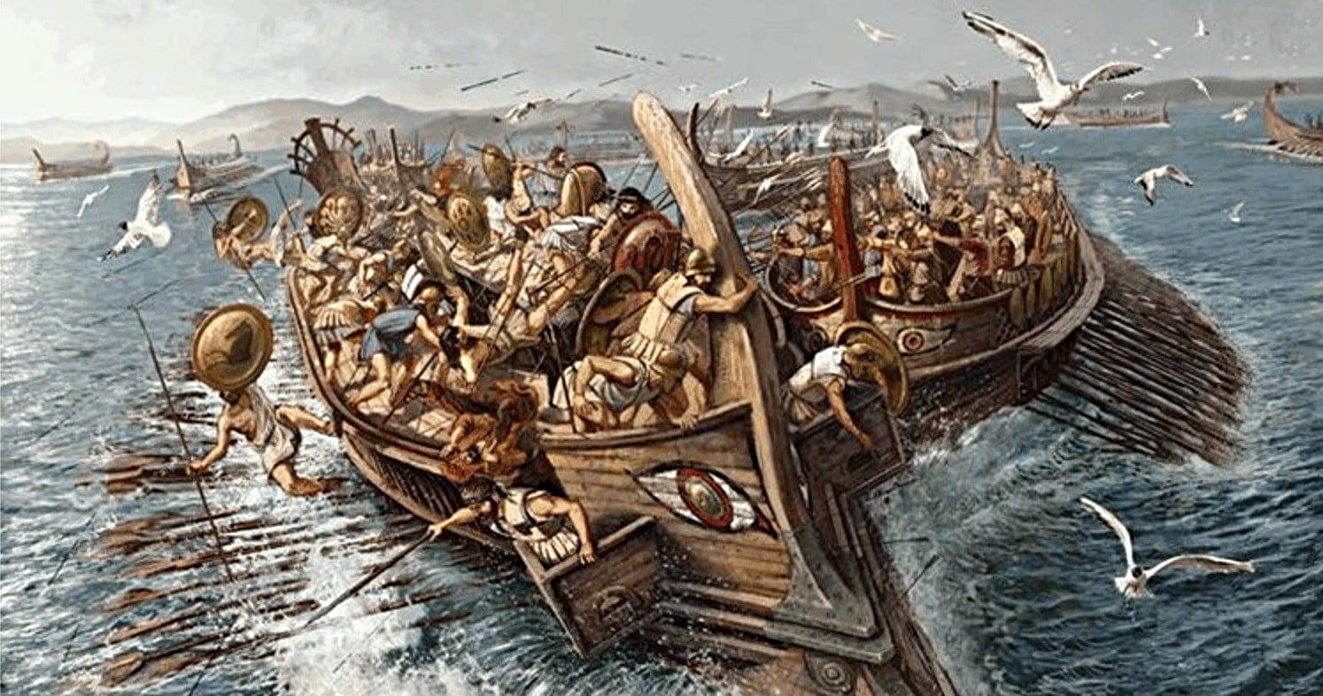 gravura da batalha de Salamina