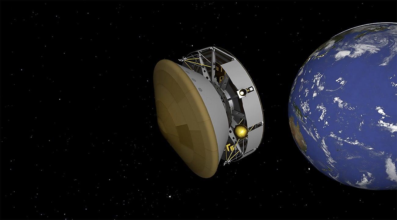 Imagem da Terra e foguete que foi para Marte