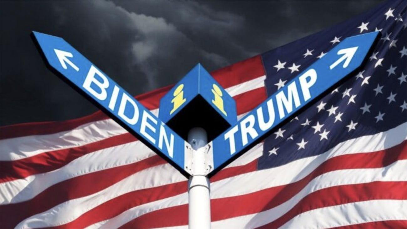 imagem de bandeira americana com os nomes de Trump e Biden