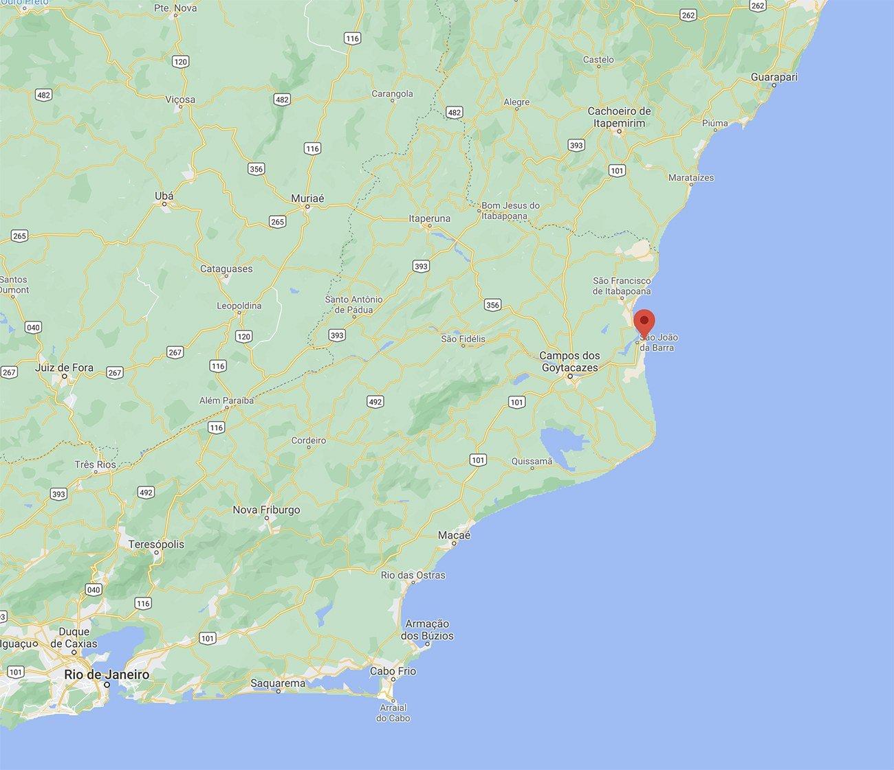 mapa da costa na região de Atafona