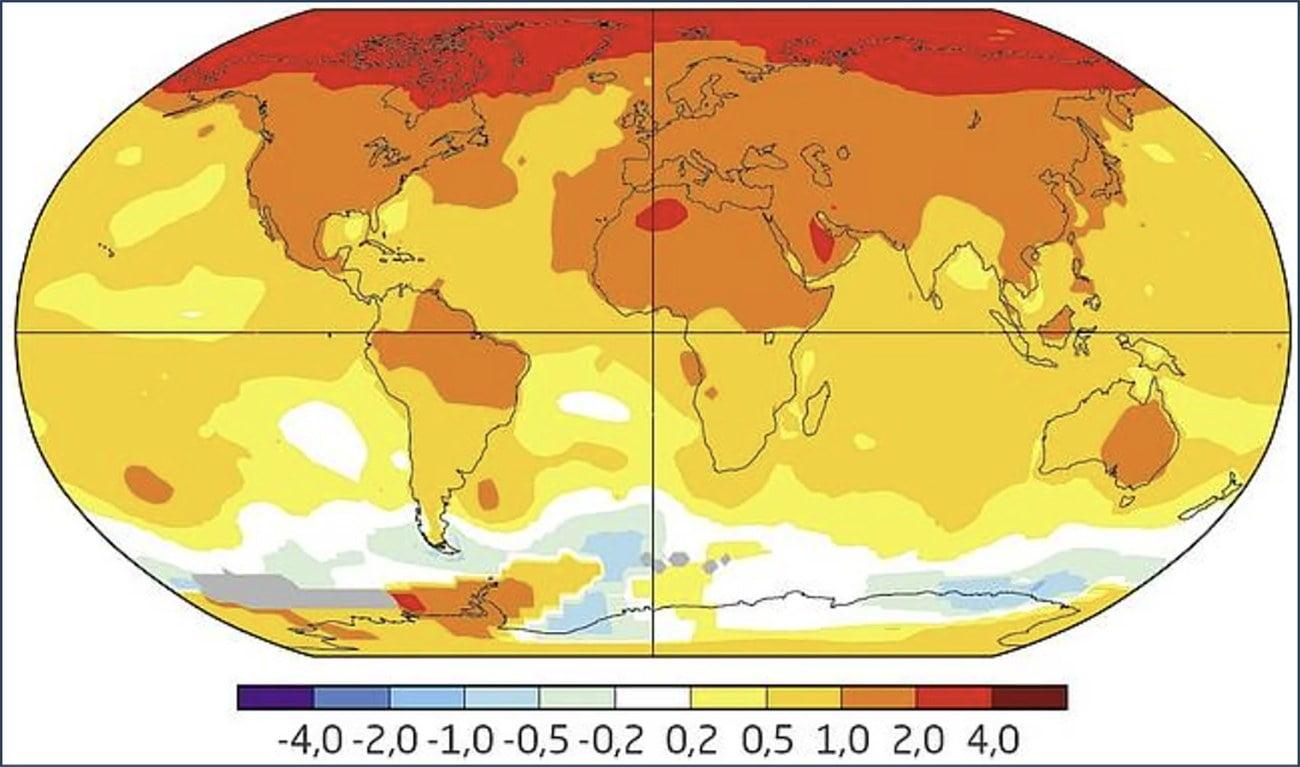 mapa mundi mostra mudanças climáticas