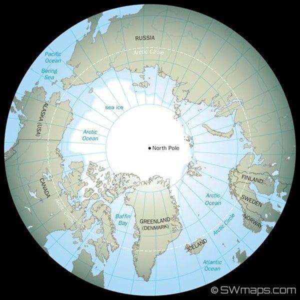 mapa do polo Norte