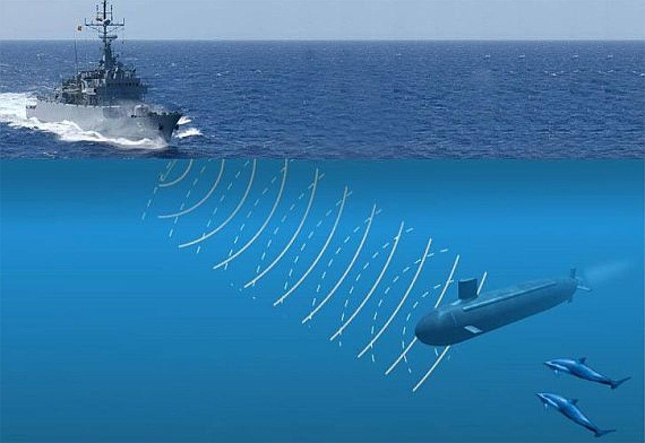ilustração sobre sonar para detectar submarinos