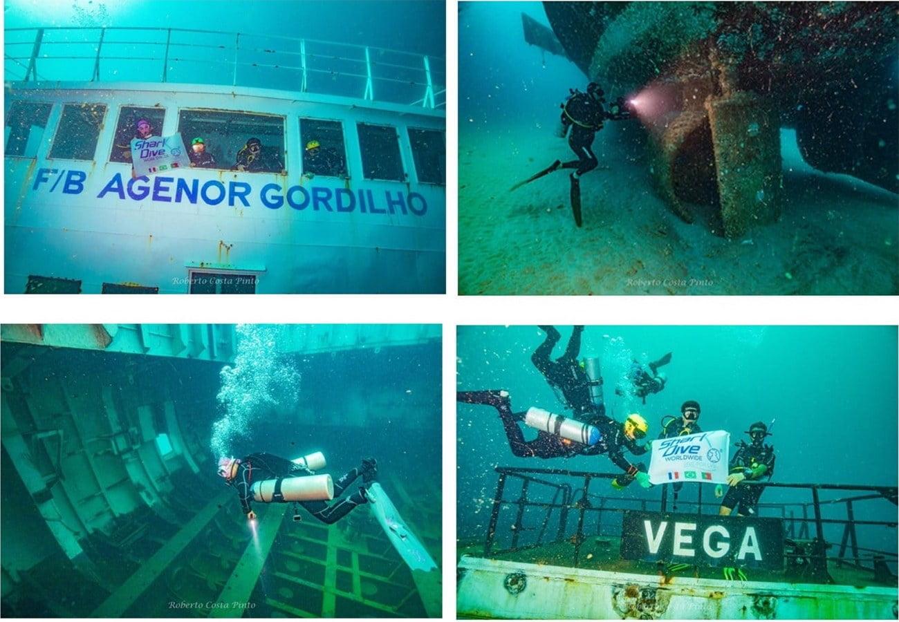 imagem do ferry-boat Agenor Gordilho debaixo d'água