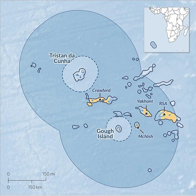 infográfico mostra área marinha protegida em Tristão da Cunha