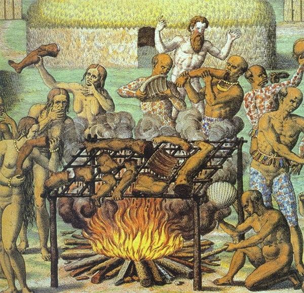 xilogravura de tupinambás assando e comendo carne humana