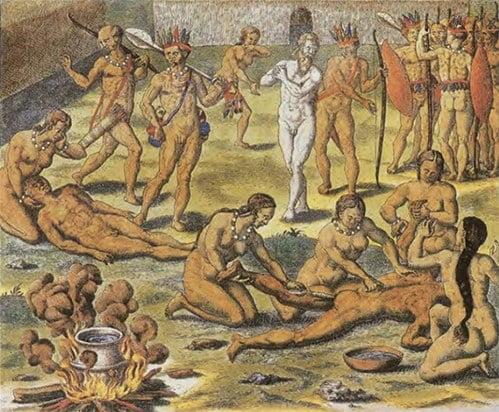 Gravura sobre canibalismo de Theodor de Bry