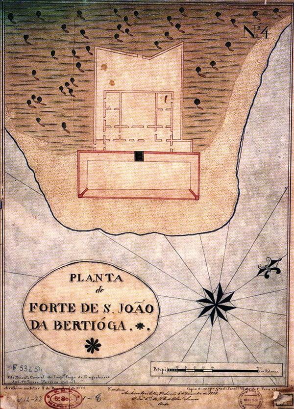 desenho da ponta do Forte São João, Bertioga