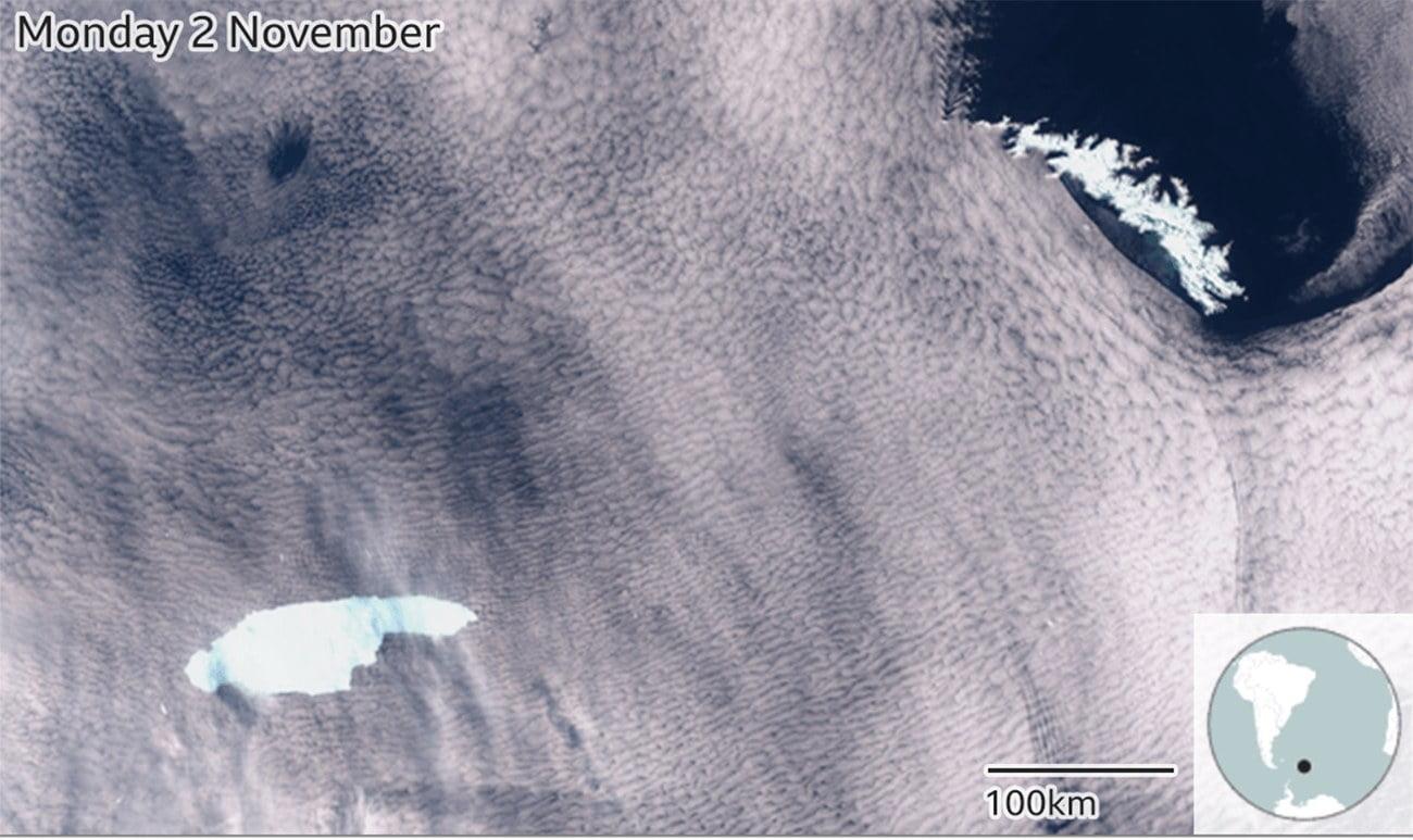 mapa com localização de iceberg gigante