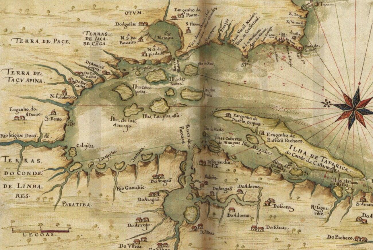 imagem de mapa antigo da baía de todos os santos