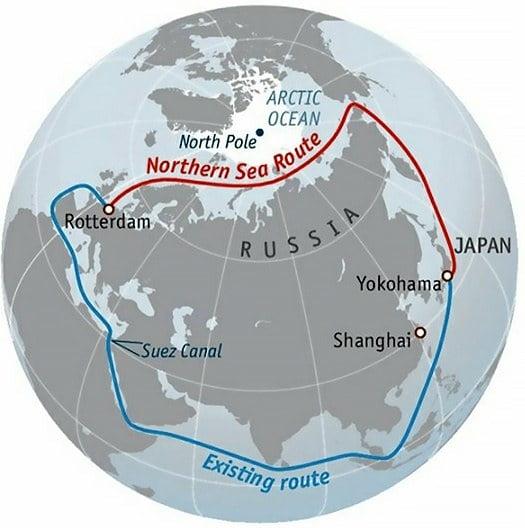 Mapa do Ártico destacando a Rússia
