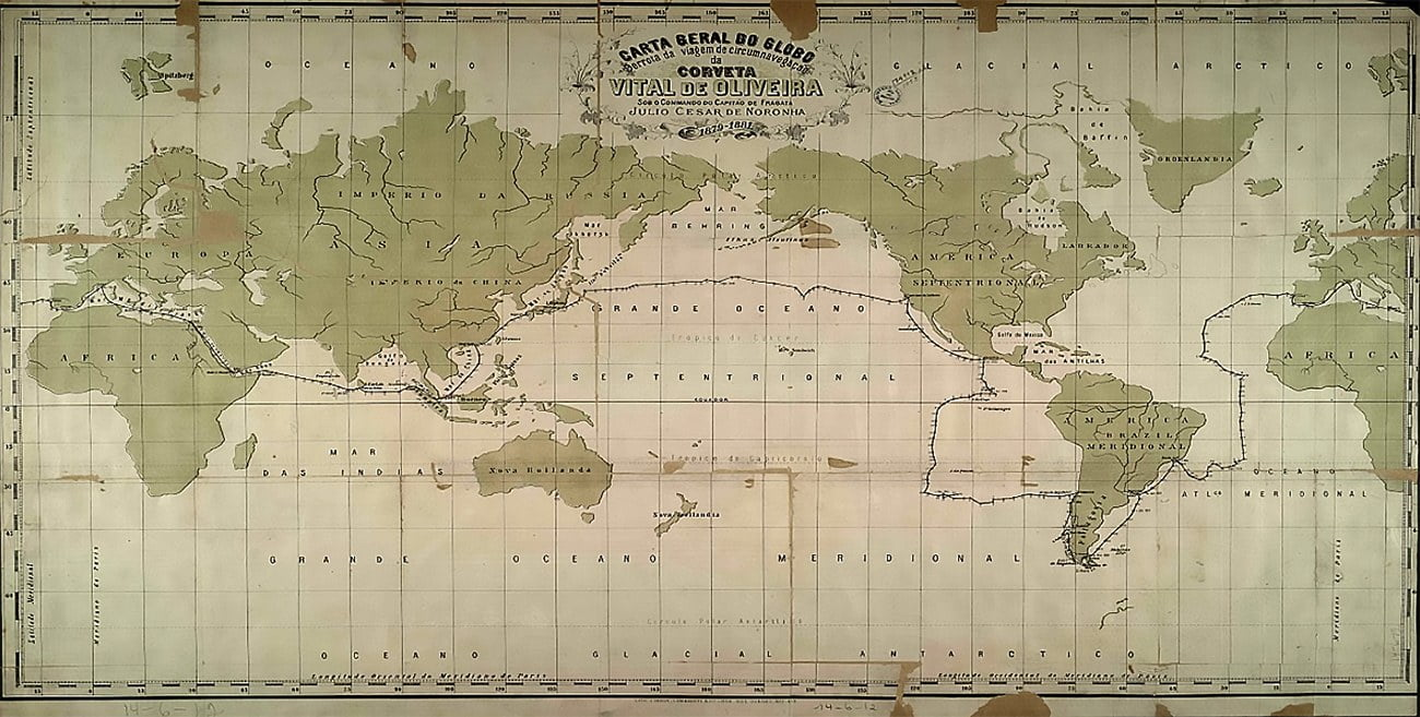 mapa antigo mostra a derrota da Vital de Oliveira na Primeira circum-navegação brasileira