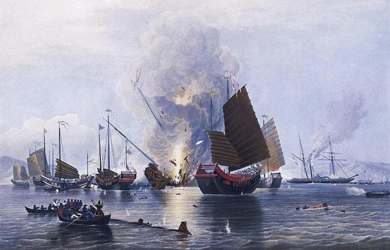 gravura de batalha naval durante a Guerra do Ópio