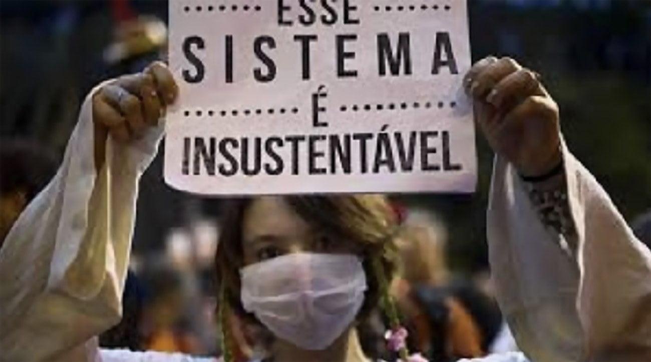 Imagem de cartaz sistema econômico insustentável