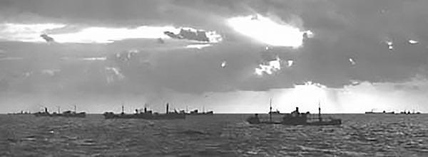 imagem de comboio de navios no Caribe na segunda Guerra Mundial