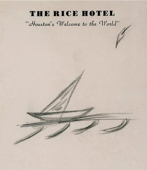 desenho de veleiro feito por John Kennedy