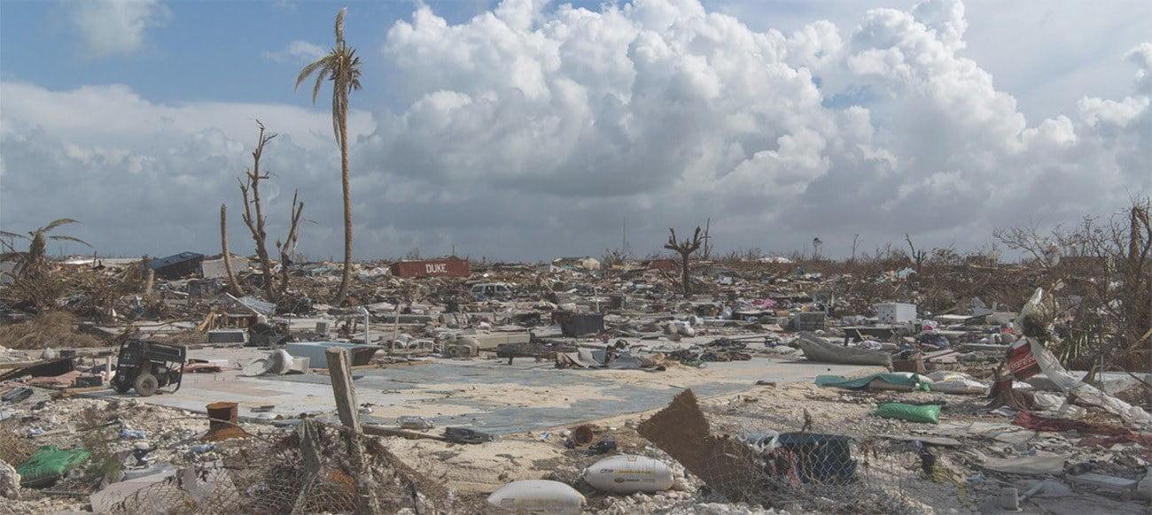 Imagem da da destruição nas Bahamas causada pela passagem do pelo furacão Dorian.