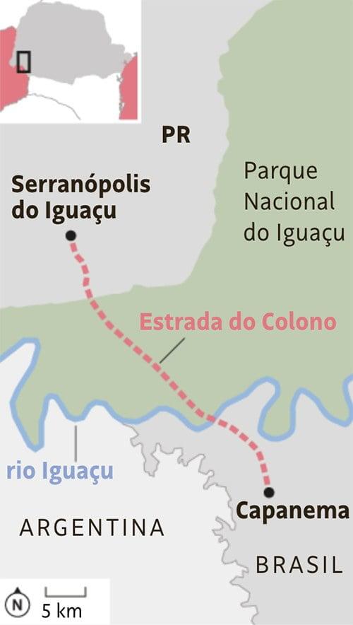 infográfico mostra a estrada do Colono