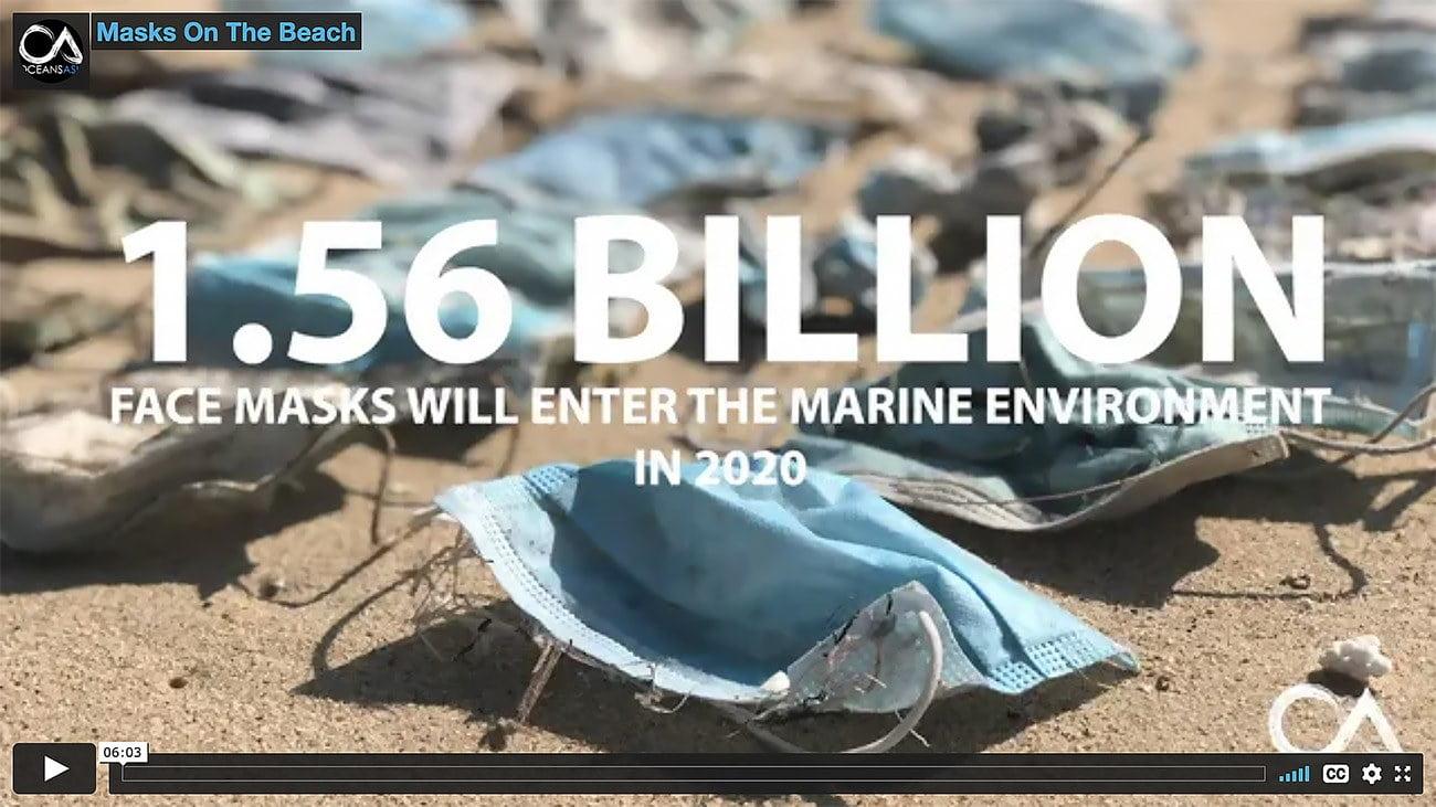 Imagem de filme sobre máscaras descartáveis nos oceanos.