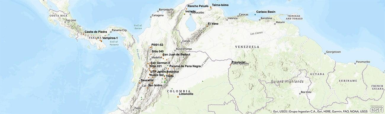 Mapa da Colombia mostra local da descoberta da arte rupestre na Amazônia