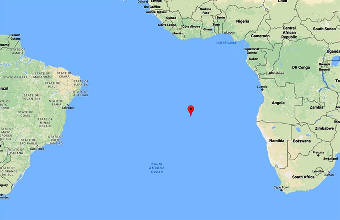 mapa mosca localização da ilha de Santa Helena