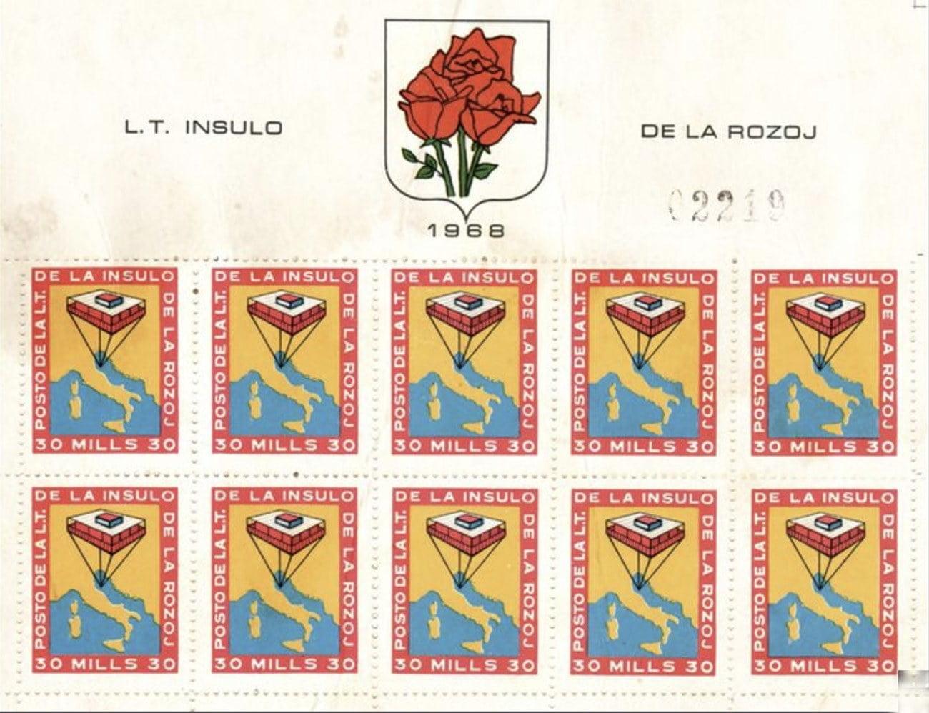 Imagem de selos da Ilha das Rosas