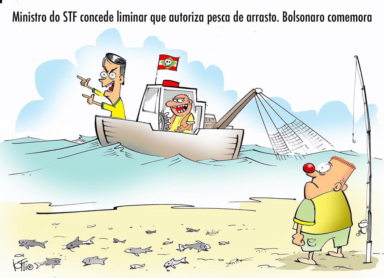 Ilustração alusiva à Pesca de arrasto no litoral gaúcho