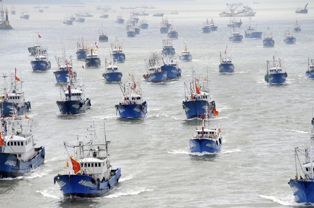 Imagem de frota pesqueira chinesa
