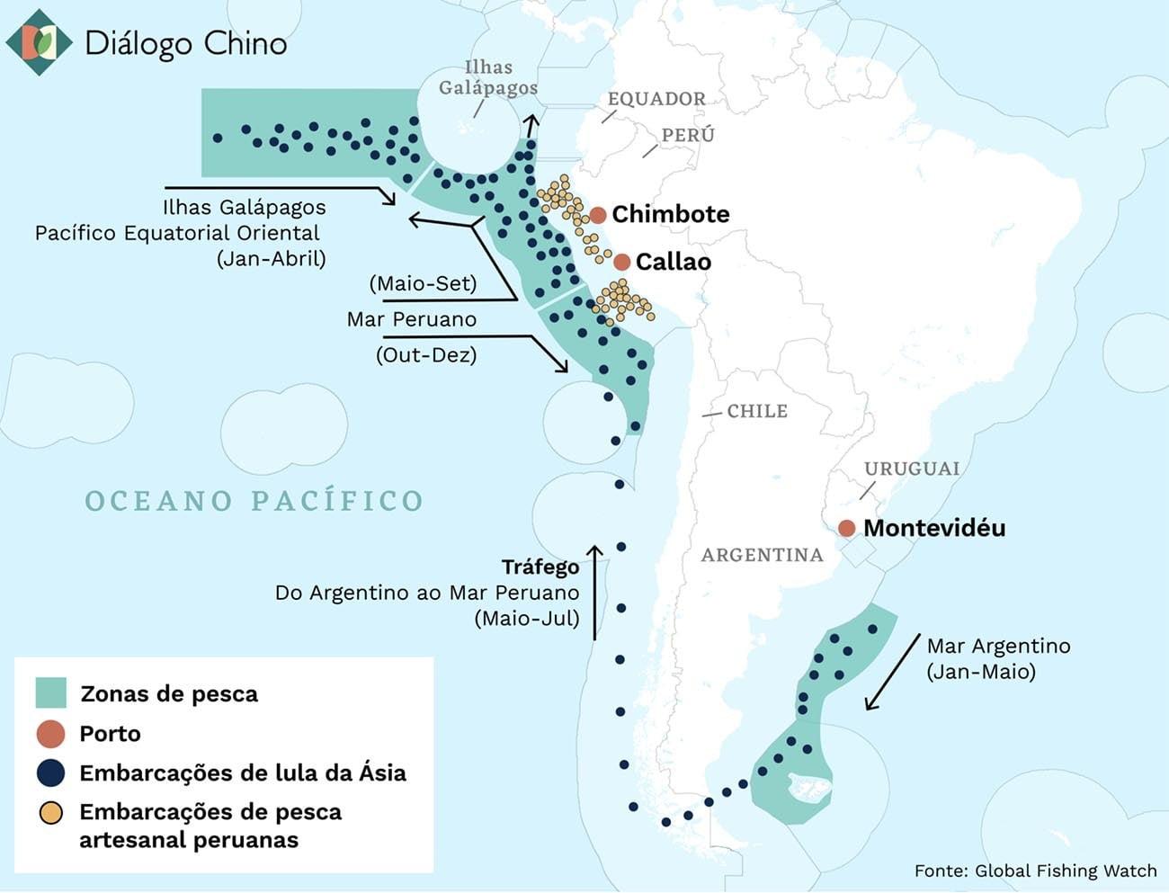 Infográfico mostra rota da frota de pesca da China no Atlântico e Pacífico Sul.