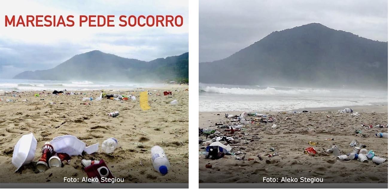 Imagem de lixo na praia de Maresias depois da virada de ano