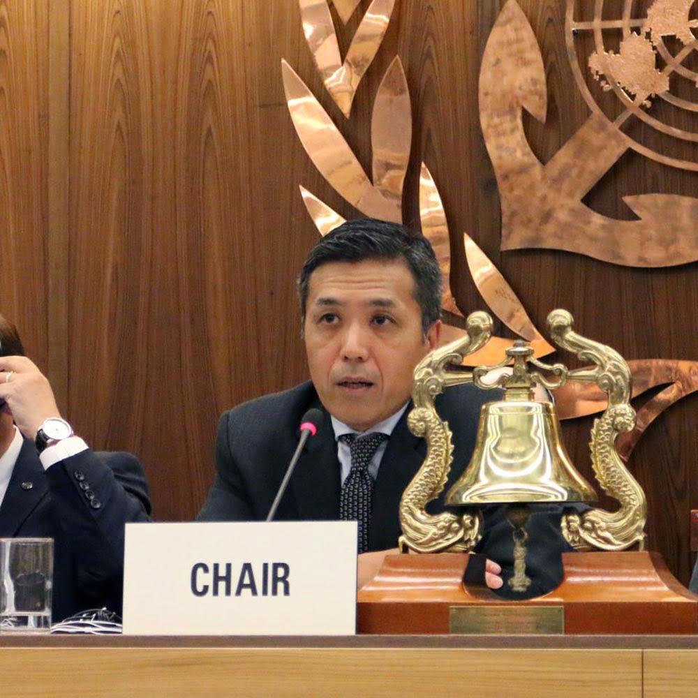 Imagem de Hideaki Saito, presidente do Comitê de Proteção Ambiental Marinha da IMO