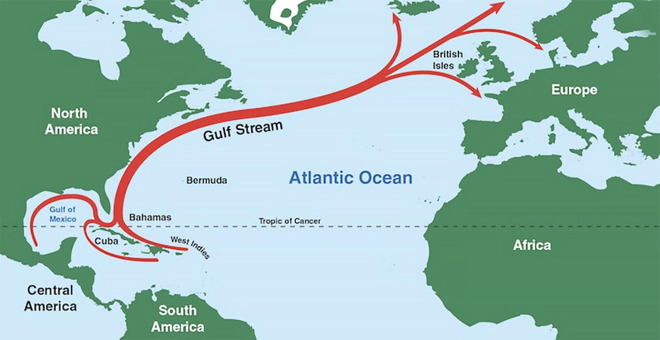 Infográfico mostra corrente do Golfo