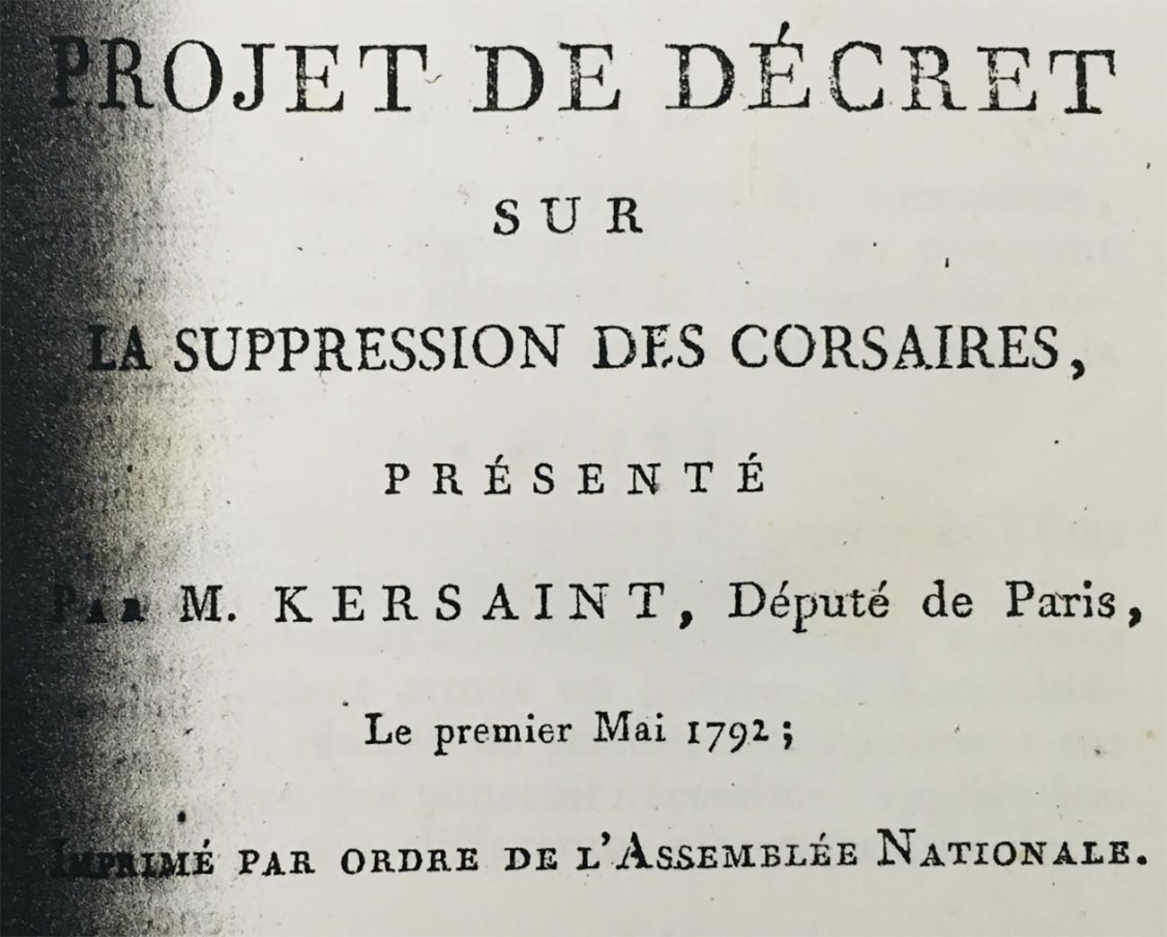 Imagem de decreto rela sobre os corsários