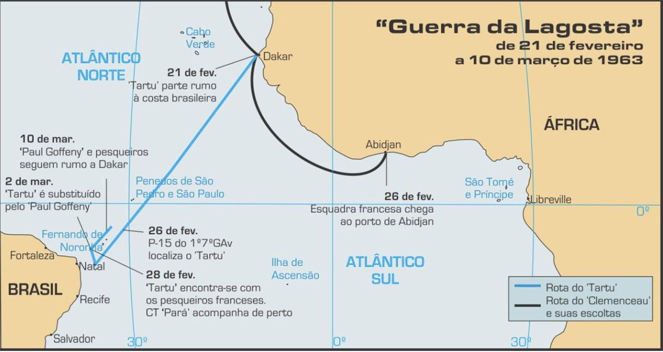 Imagem de mapa mostrando a eAfrica e a costa brasileira.