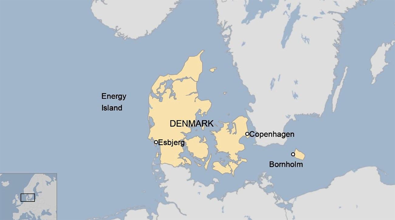 Mapa de local da ilha artificial da Dinamarca