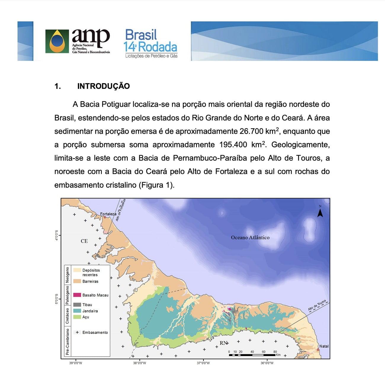 infográfico mostra Bacia Potiguar onde haverá extração de petróleo no mar