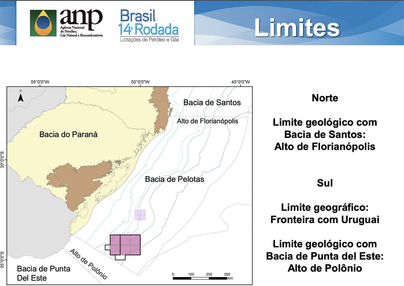 Infgráfico mostra Bacia de Pelotas onde haverá extração de petróleo no mar