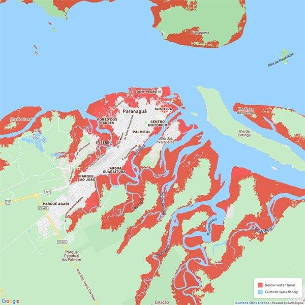 Imagem de mapa da baía de Paranaguá