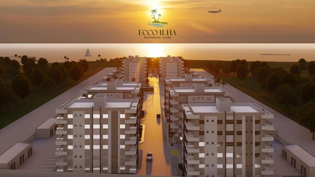 Ilustração de prédios a serem erguidos em Ilha Comprida