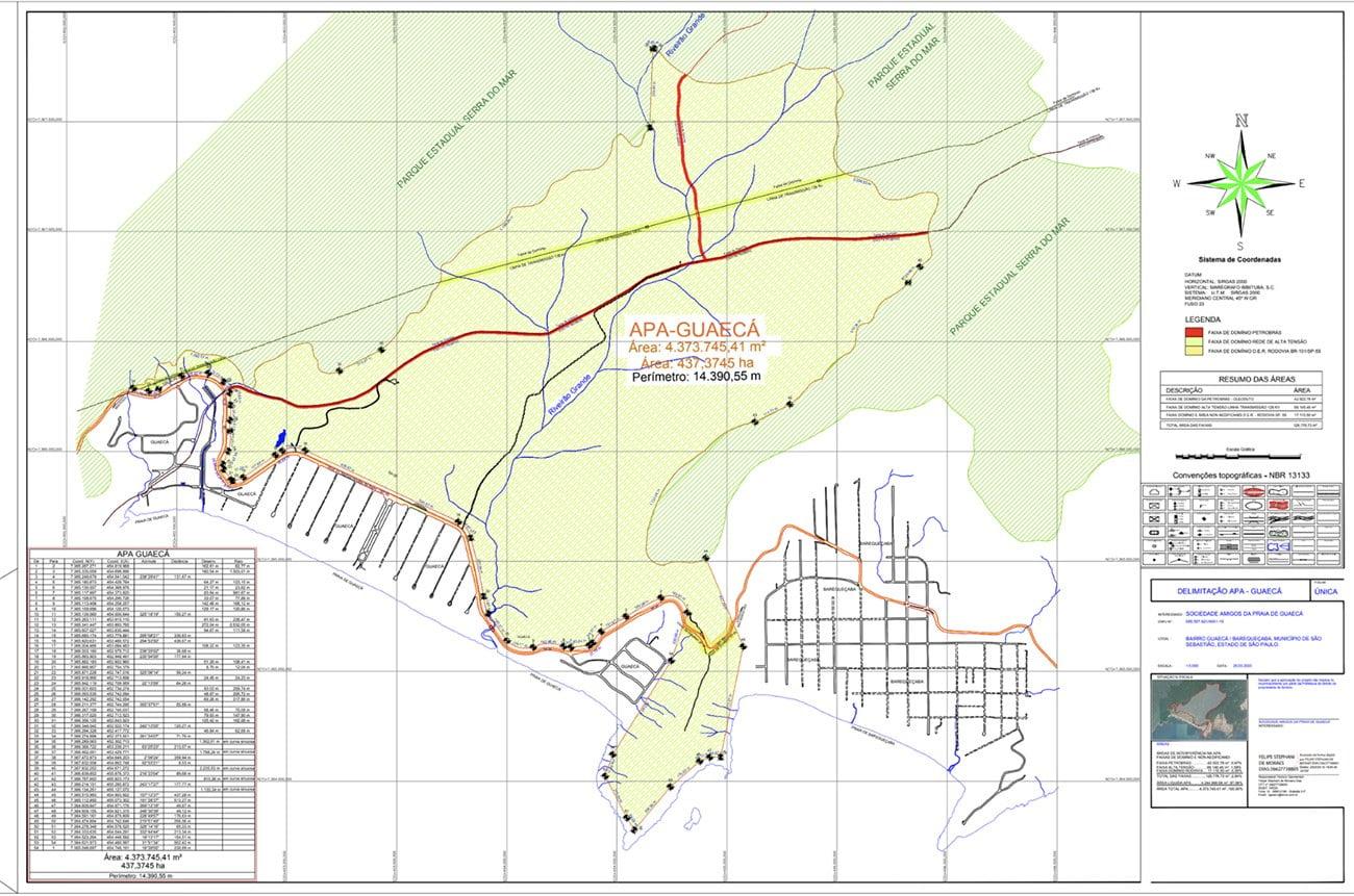 mapa da APA Guaecá