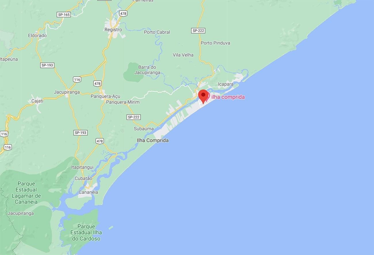 Mapa da Ilha Comprida