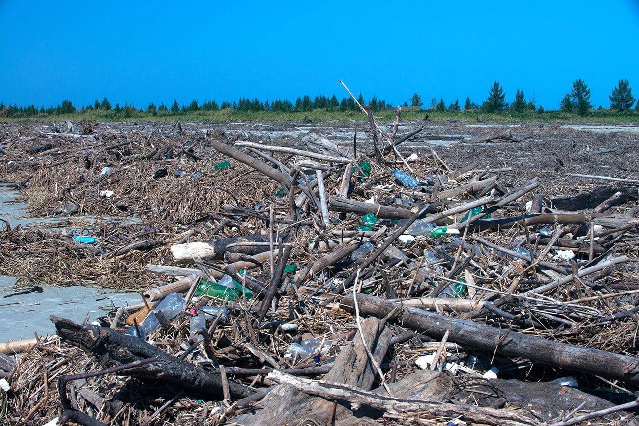 Imagem de lixo nas praias de Ilha Comprida