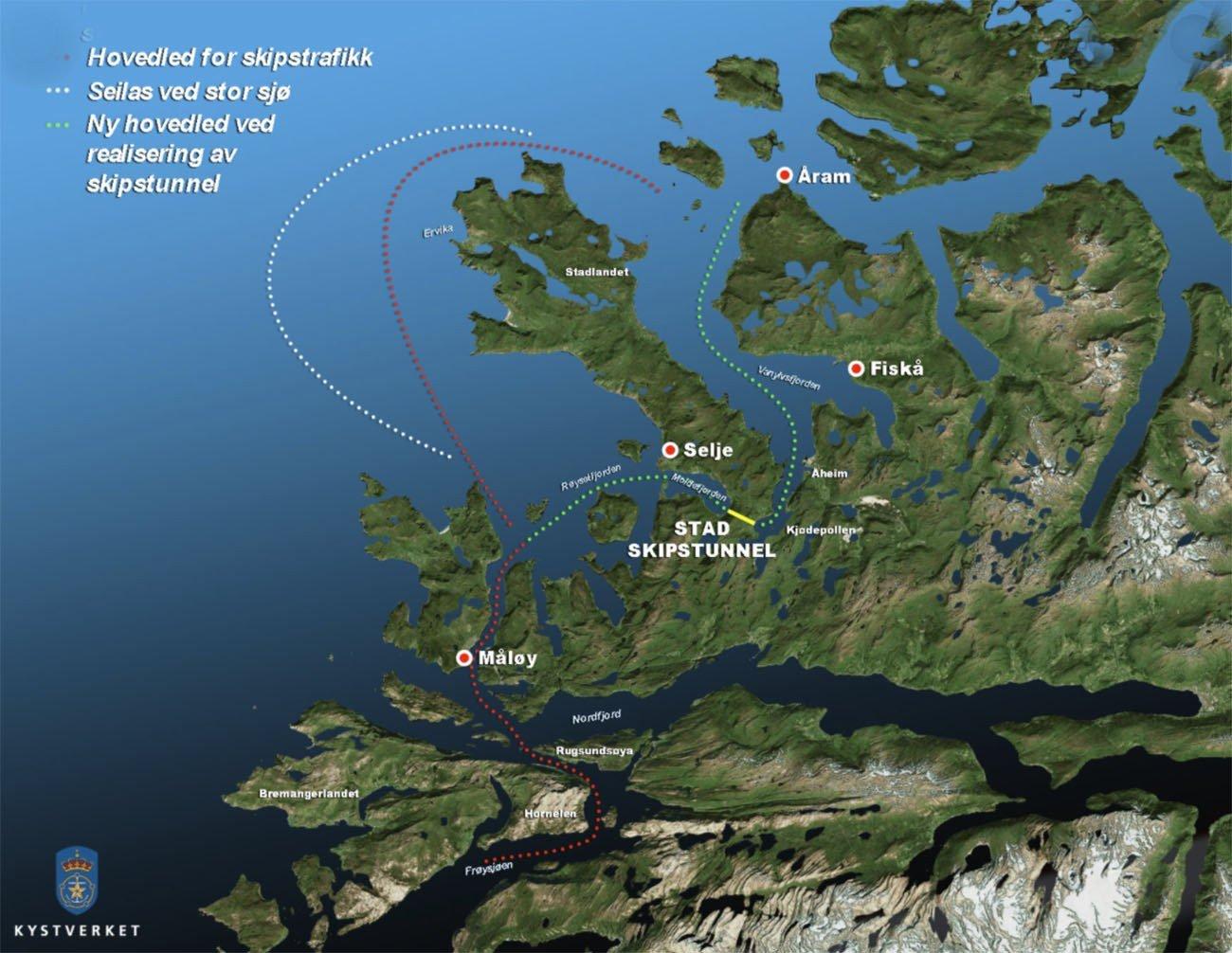 Imagem da região onde haverá um túnel para navios