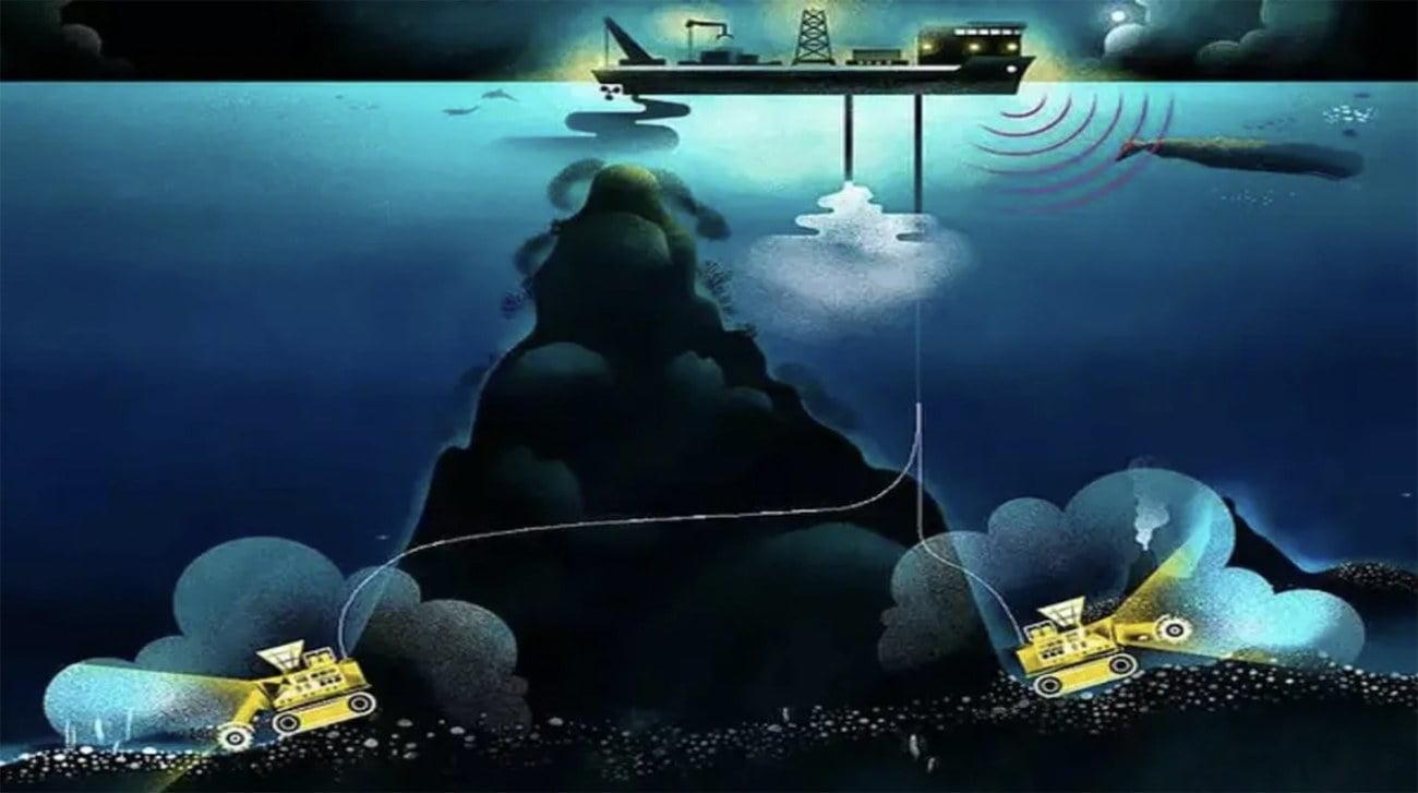 Ilustração sobre mineração submarina